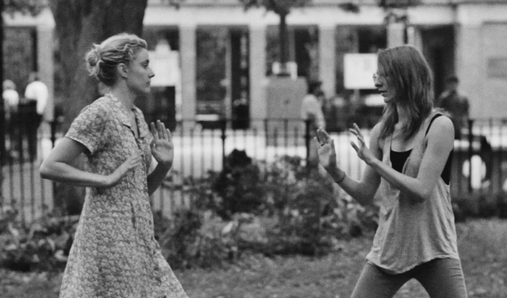 """(l-r) Greta Gerwig & Mickey Sumner playfighting in """"Frances Ha."""" ©Pine District, LLC."""